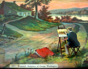 Antique fine art lithograph print of artist painting canvas at Wakefield, Birthplace of George Washington in brown black faux grain frame.