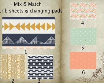 Crib sheet, changing pad cover, mix and match, design your own,arizona theme