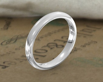 3mm comfort fit wedding ring in white gold womens wedding band mens wedding band