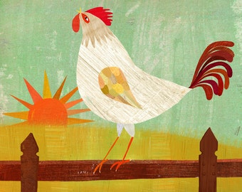 Good Morning Rooster // Canvas Art Print // Country Home Decor
