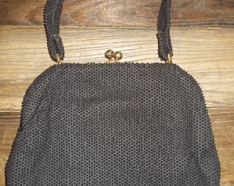 Vintage 1950s Hand Bag with Strap-Black Fabric Covered in Black Beads-Hemphill Wells Department Store