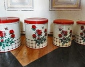 Colorware NC canisters, Clover pattern canisters, made in USA, vintage kitchen, baking supplies, cooking supplies