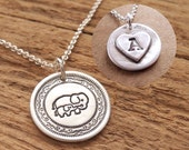 Personalized Mini Mother and Baby Elephant Necklace, New Mom Necklace, Fine Silver, Sterling Silver Chain, Made To Order