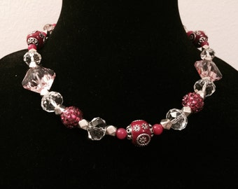 Hot Pink Necklace with an Antique Feel