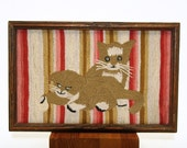 "Vintage ""Two Kittens"" Needlepoint, Metropolitian Museum of Art, Malzaltov's"