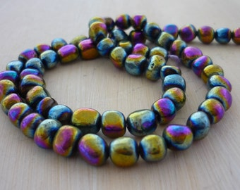 Rainbow coated pyrite nugget beads 4-5mm 1/2 strand