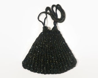 Vintage Dark Glass Bead Crochet Drawstring Flapper Purse from the 1920's-30's