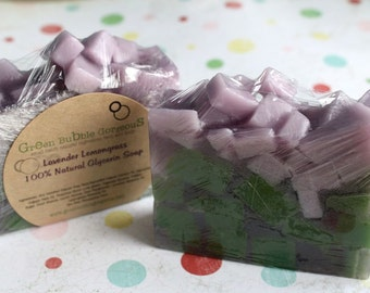 Natural Soap, Glycerin Soap, Lavender Lemongrass 4.5 oz. FREE SHIPPING by Green Bubble Gorgeous on etsy