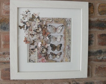 3D BUTTERFLY ART,  Mixed Media Framed Picture