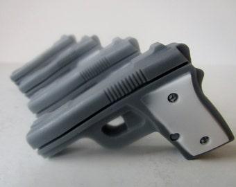4 GUN SOAP - gift for him, stocking stuffer for man, gift for him, gray and white mini pistol, gift for boyfriend