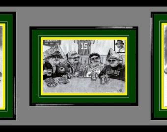 Green Bay Packers ART- Clay Matthews, 'Da Packers!' Superfans & Aaron Rodgers