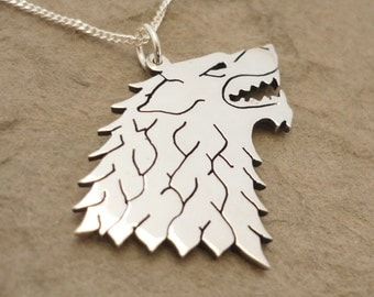 Direwolf House Sigil Sterling silver pendant on chain