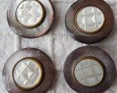 4 Fancy Carved Mother of Pearl Buttons