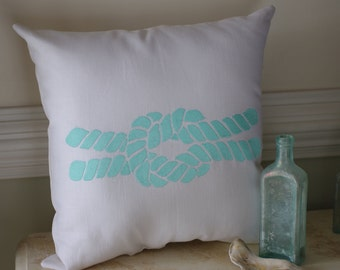Beach Themed Pillow - Natural Linen - Embroidered Knot - Coastal Decor