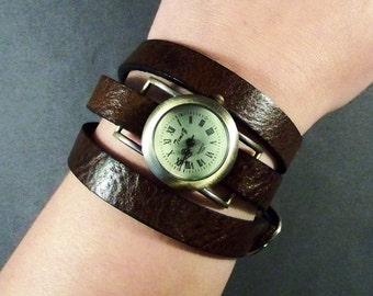 Wrap Watch-Brown Leather Watch-Women Watch-Bracelet Watch- Leather Wrap Watch-Montre-Friendship Gift-Friendship Bracelet Watch-Leather-Boho-