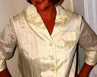 Vintage 70s Yellow Cotton Sheer Sheath Day Dress size 14