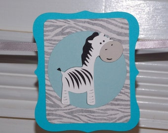 Mini WELCOME BABY Banner  READY To SHiP  photo prop Turquoise Blue Grey Charcoal Zebra Print
