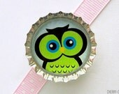 Owl Green Bottle Cap Magnet - cute owl decor, retro owl magnets, organization, fridge magnets, owl party favors, owl birthday, big eyed owl