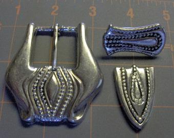 Vintage Silver Belt Buckle - Slide - Tip Set - Belt Hardware - Purse Hardware -  Salvaged 1980's Belt Buckle Set - Salvaged Hardware