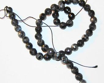 AAA 8mm Natural Black LARVIKITE, round,  gemstone beads, 15 inch strand, hka32