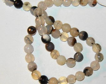 AAA Natural 8 mm round faceted GENUINE AGAT, gemstone beads, 15 inch strand, (H25)
