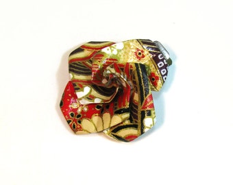 """Half Off SALE Flower Barrette Sweet Origami Rose hair clip  Classic Washi Red 1.25"""""""