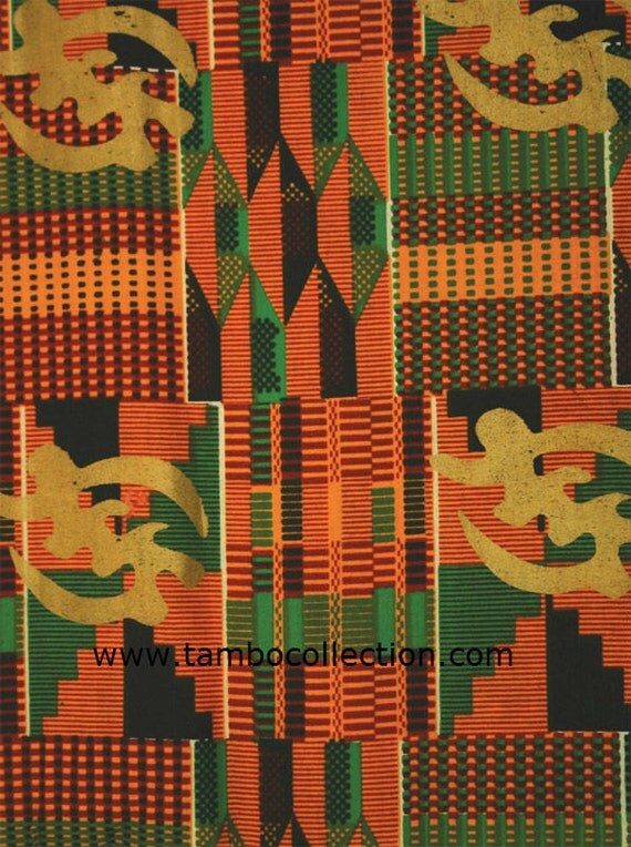 23 Inch By 45 Inch Remnant Kente 2 Fabric With Gold Metallic