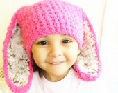 SALE 6 to 12m Hot Pink Leopard Baby Bunny Hat, Pink Brown Cream Bunny Ears Baby Girls Hat For Baby Hat Bunny Photo Prop Christmas Gift