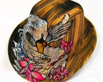 Handpainted Stripe One of Kind Swan Fedora with floral