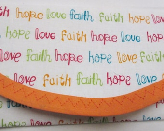 Church Offering wallet, Easter Faith, Hope, Love, Christian Crosses & Hearts, Envelope Clutch, pic 1-3 - 7 x 3 pic 4, 5 is 6 x 3