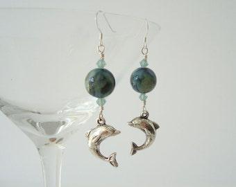 Dolphin Earrings Beaded Dangle Nautical Earrings Beach Jewelry Porpoise Earrings Blue Green with Swarovski Crystal Bicone Elements