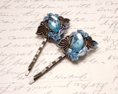 Topaz Blue Cabochon Bobby Pins. Carolina Blue and Bronze Hair Accessories. Gemstone and Flower Hair Pins.