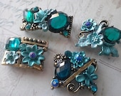 Teal Rhinestones Metal Beads  with  Flower and Leaves  Motif. Assorted 4 Pieces, Jewelry Supply, Buckles, Connectors.
