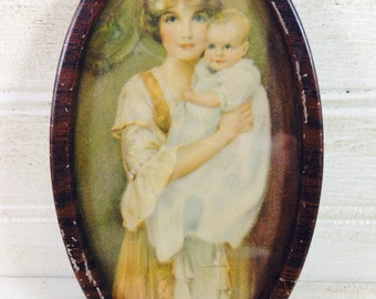 Vintage Mother and Child Oval Print