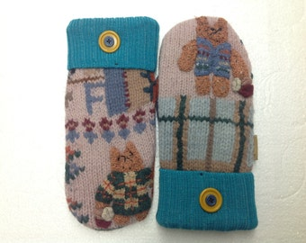 Upcycled Wool Sweater Mitten Adult Medium/Large - FREE SHIPPING