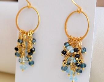 Gemstone Earrings, London Blue Topaz, Black Spinel, Gold Chains, Chandelier, December Birthstone, Vermeil Jewelry, Free Shipping