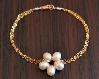 Pearl Flower Bracelet, Gold Filled Cable Chain, Elegant Wedding, Ivory, White, Real Freshwater, Bridal Jewelry, Free Shipping