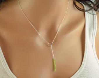Simple Silver Lariat Necklace, Peridot Necklace, Lime Green, Sterling Silver, Modern Gemstone Jewelry, Free Shipping