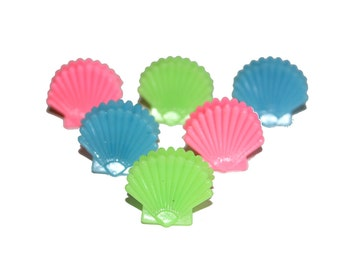 "6 PCS - 90's Mermaid Shell ""Butterfly"" Hair Clips (x6) Pastel Grunge - kawaii mermaid clamshell ocean jewelry"