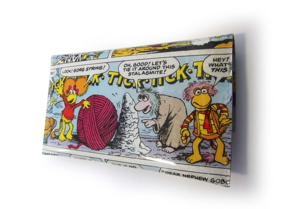 Fraggle Rock Purse with Red & Mokey - Recycled Vintage Comic Book in Vinyl