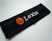 Basketball Stretch Headband PERSONALIZED and FULLY CUSTOMIZABLE with your name and colors and many sports available