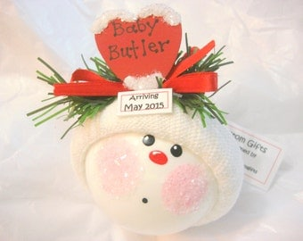 Birth Announcement Gift Christmas Ornament Color Choice Heart Personalized Handmade Due Date Tag Sample