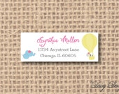 Return Address Labels - Hot Air Balloon and Safari Animals with Hairbows - 120 self-sticking labels