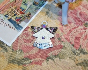 BELIEVE Angel Christmas Pin