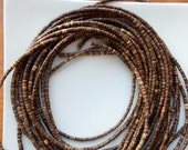 2.5-3mm Brown Coconut wood heishi beads  ( 22 inches strand), wooden beads