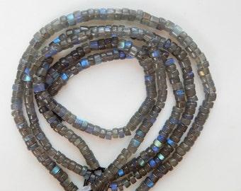 5-5.5mm Blue flashy  Labradorite   heishi beads ( options of 1/2 strand and full strand)