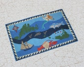 Miniature Underwater Themed Rug for Dollhouse or Roombox in One Twelfth Scale