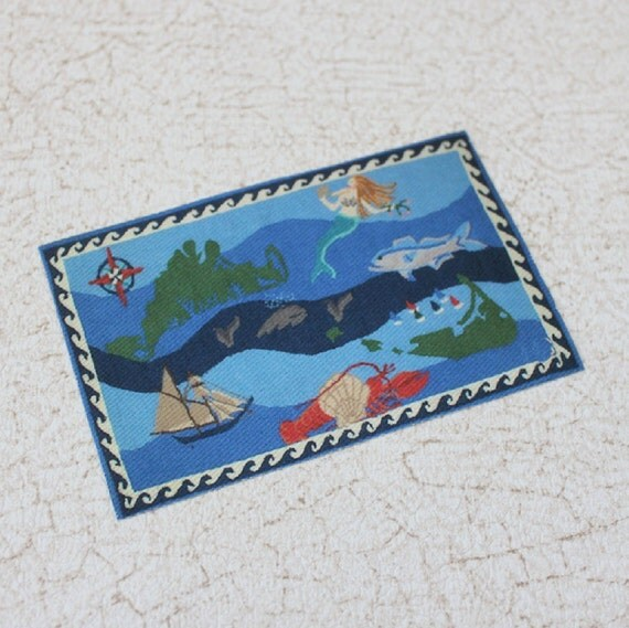 Miniature Underwater Themed Rug For Dollhouse Or Roombox In