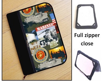 personalized HARD case - ipad case/ kindle case/ nook case/ samsung case/ others - full zipper close - USMC