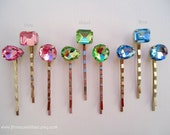 Cabochon bobby pins - Pastel pink, green or, blue gem sparkly rhinestones geometric shapes set of 5 TREASURY ITEM